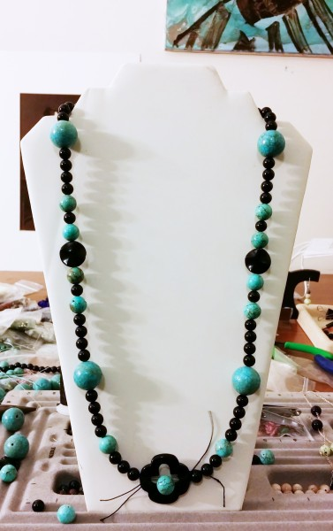Turquoise and Jet Necklace draft