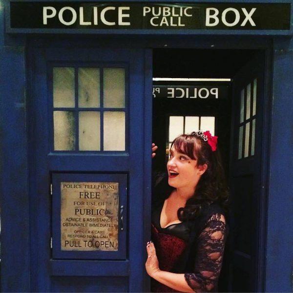Alethea Kontis in the TARDIS