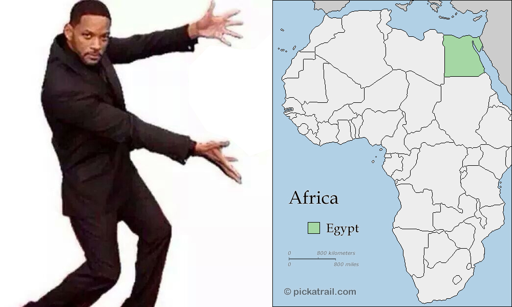 A map of Africa with Egypt highlighted and Will Smith as a meme gesturing toward it