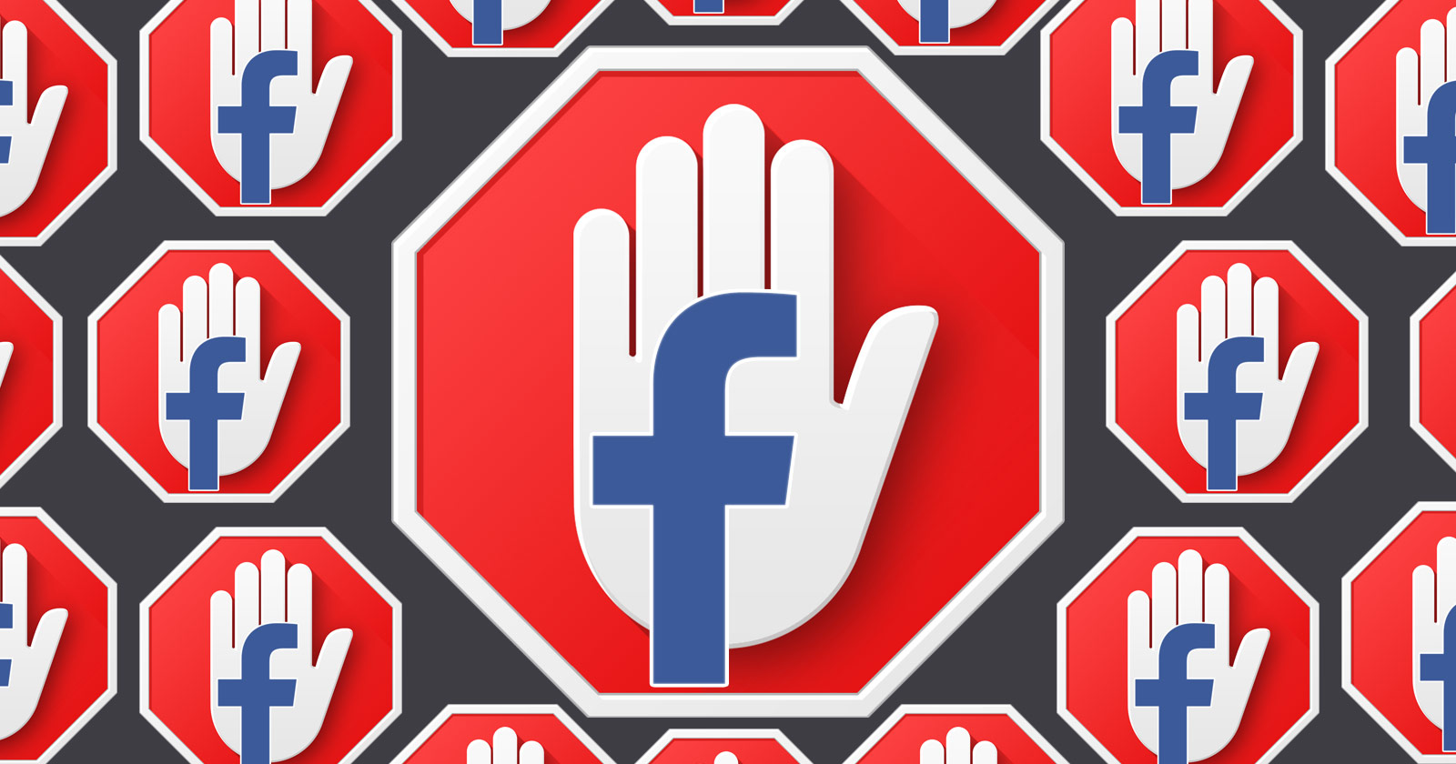A graphic showing multiple stop signs with white hand icons depicting STOP imposed on them and the F facebook logo imposed on the hands
